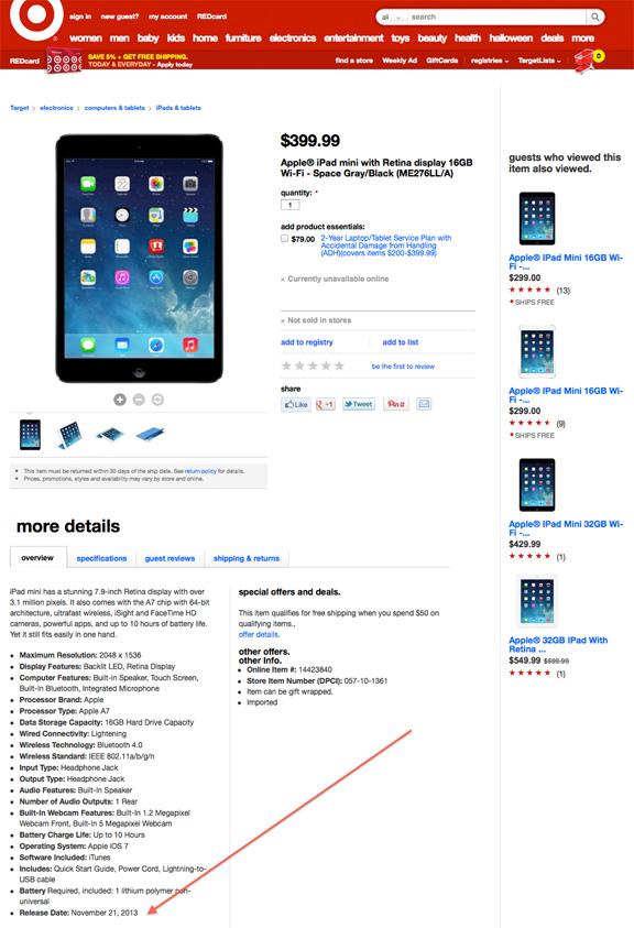 Продажи iPad mini с Retina-дисплеем стартуют 21 ноября