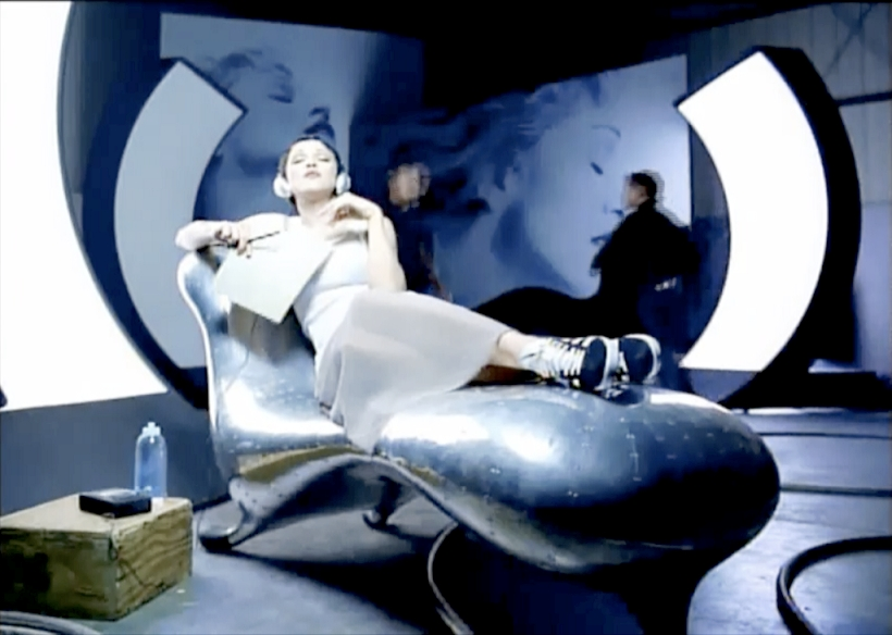 MADONNA-from-Rain-Video-Clip-1993-on-LOCKHEED-LOUNGE-Chaise-Longue-Lounger-Daybed-by-Marc-Newson-1986-1988-1